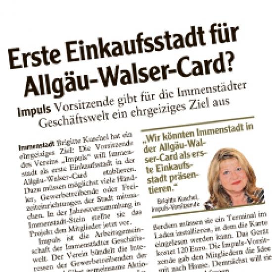 Erste Einkaufsstadt für Allgäu-Walser-Card